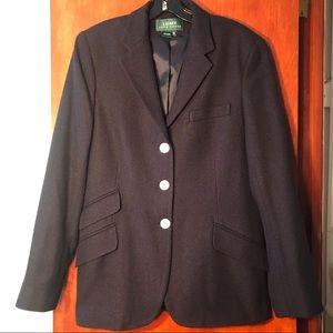 Lauren Ralph Lauren 100% Silk Navy Blazer sz 12